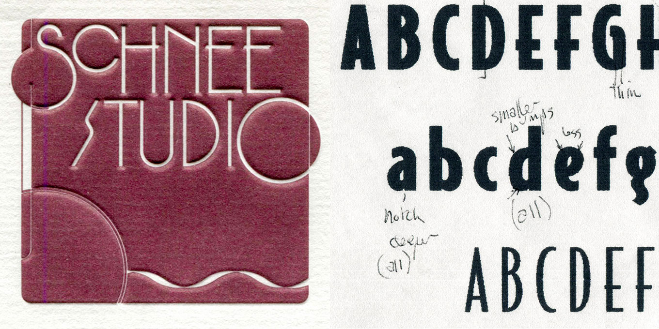 Left: an early art deco-inspired logo by Greg Thompson informed the design of Bodega Sans. Right: an early sketch of Bodega Sans.
