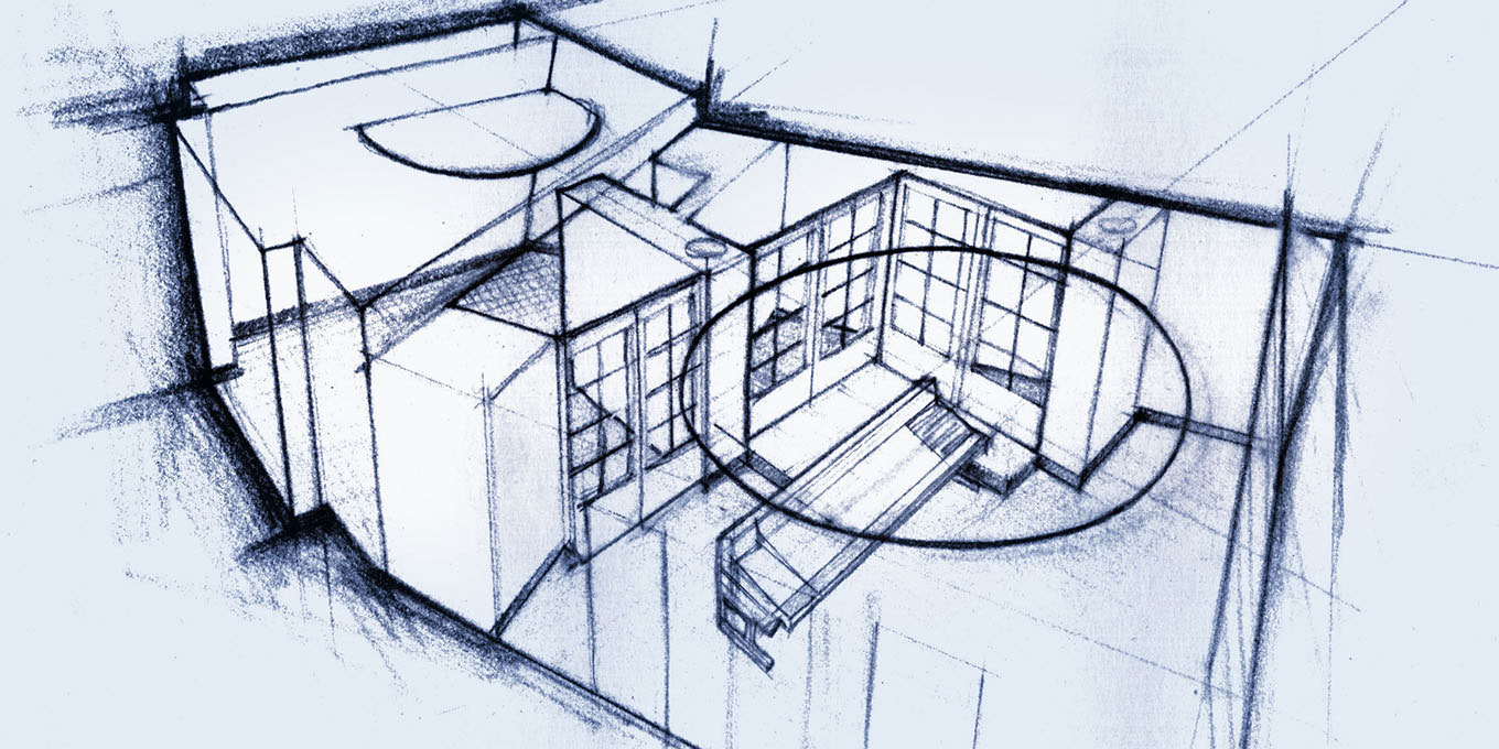 Early sketch for a recording studio by Greg Thompson